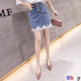 [Bbay] 高腰蕾絲拼接牛仔裙A字半身裙(S-2XL)