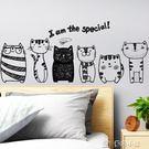 墻貼創意個性貓咪墻壁貼畫家用貼飾貼紙柜子裝飾墻貼宿舍臥室墻紙 多色小屋YXS