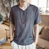 中國風男裝v領短袖T恤夏季寬鬆大碼體恤薄款中式復古男士半袖衣服『潮流世家』