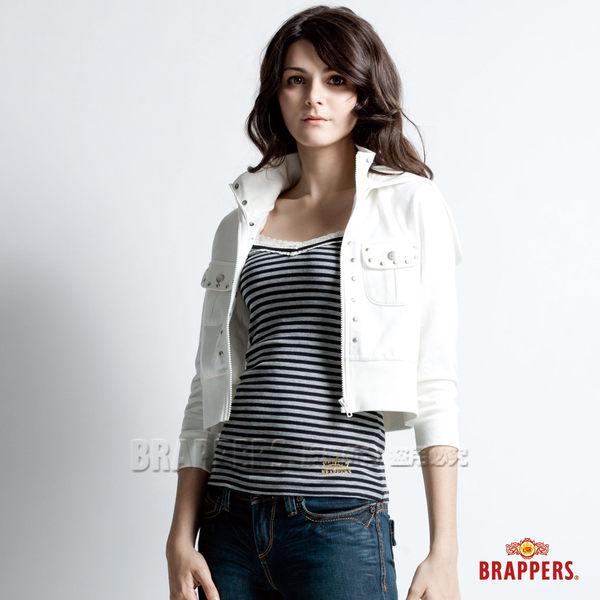 BRAPPERS 女款 連帽短版撞釘外套-米白