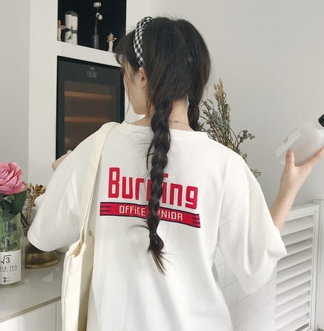EASON SHOP(GU6101)搞怪英文字母卡通印花圓領短袖T恤內搭衫長版落肩五分袖女上衣素色白棉T韓版寬鬆