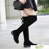 秋冬新品歐美過膝靴女彈力高筒靴顯瘦中跟長靴騎士靴女靴子潮