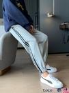 加絨休閒褲 灰色運動褲女寬鬆束腳冬季純棉衛褲顯瘦直筒加絨厚保暖休閒哈倫褲 coco