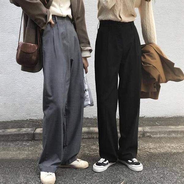 西裝褲 女直筒寬松春秋冬闊腿褲高腰垂感顯瘦休閑長褲子【牛年大吉】