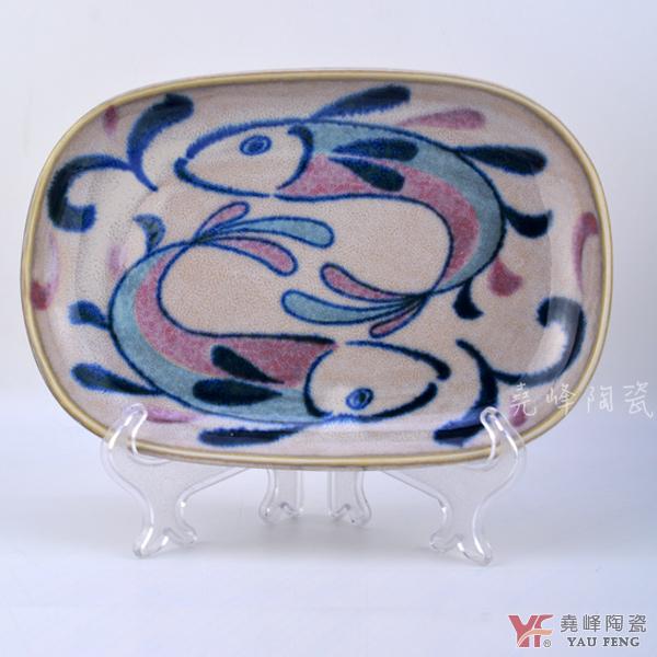 【堯峰陶瓷】日本美濃燒彩繪魚系列 彩繪魚7.5吋長盤 單入   擺盤必備   盤 餐具系列 現貨在台