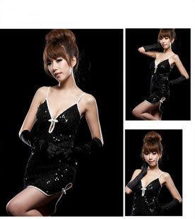 黑色白色DS演出服領舞服飾百搭綢緞光面