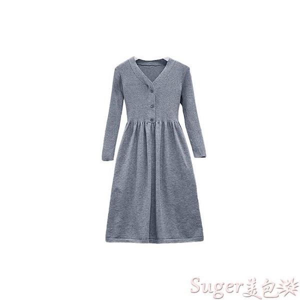 針織洋裝 秋冬裝2021年新款大碼女裝胖mm高端輕奢針織連身裙子顯瘦毛衣套裝 suger