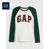Gap男童圓領長袖套頭T恤525060-光感亮白
