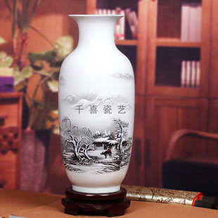 景德鎮陶瓷器薄胎瓷粉彩花瓶冬瓜瓶簡約現代山水呼春圖雪景中式