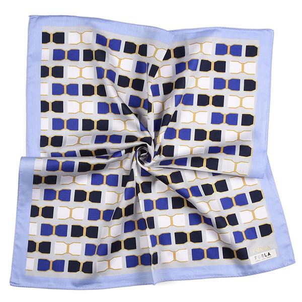 FURLA蝴蝶結幾何印花純綿帕領巾(藍紫色)989250-10
