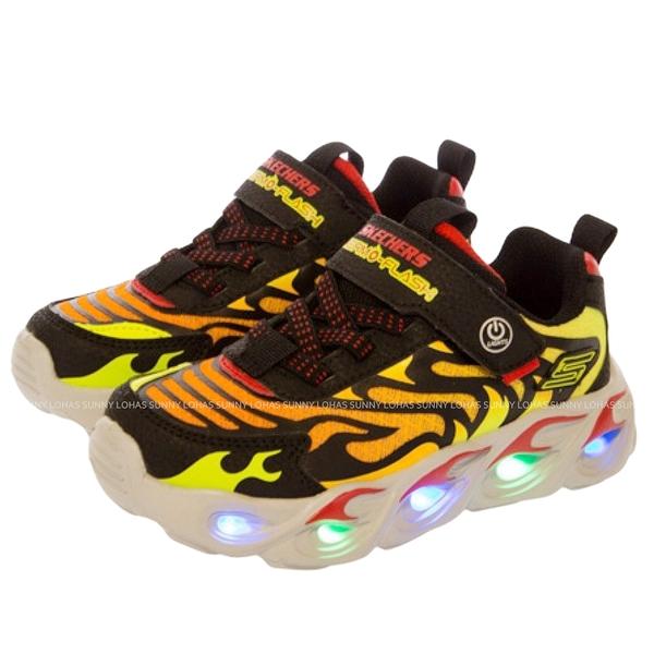 (BZ)SKECHERS 男童鞋 THERMO-FLASH 閃燈鞋 有開關 魔鬼氈 400106LBKRD風火輪 [陽光樂活]