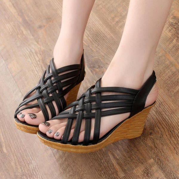 時尚舒適平底百搭厚底楔形厚底防水台優雅復古魚嘴羅馬女涼鞋 卡布奇諾
