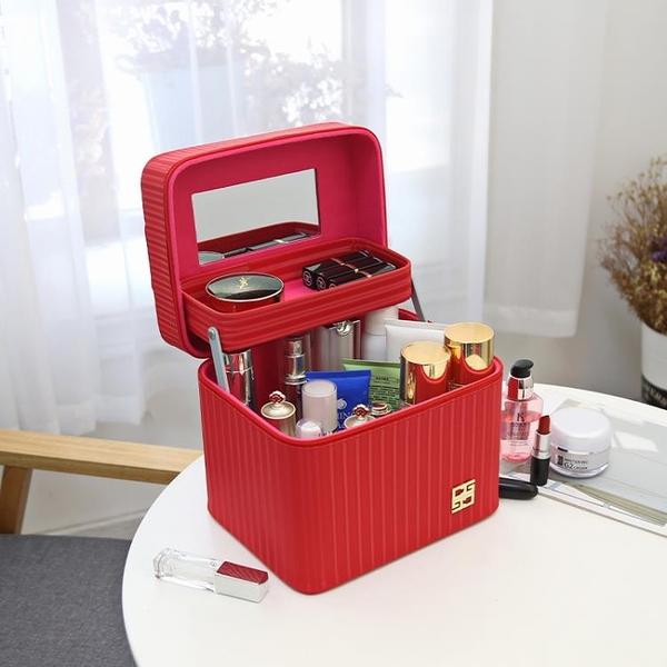 化妝盒 化妝包新款大容量多功能手提化妝箱便攜專業可愛化妝品簡約收納盒【快速出貨八折鉅惠】