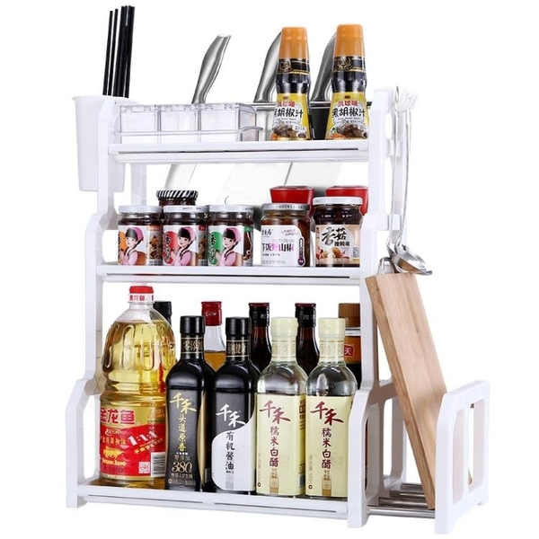 科翼雙層廚房置物架落地調味調料架子儲物收納架廚具刀架用品用具   LannaS