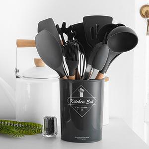 木柄矽膠廚具11件組-灰黑色
