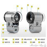 放大鏡 50倍放大鏡高倍高清帶燈LED便攜式30迷你顯微鏡10060倍 瑪麗蓮安