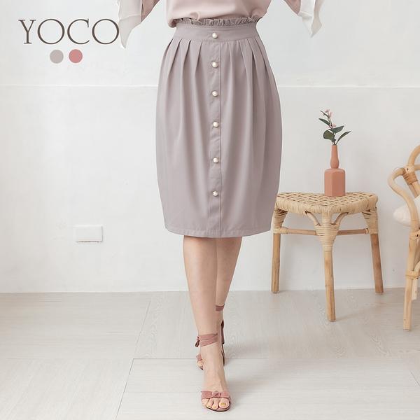 東京著衣【YOCO】優雅氣質珍珠排釦花苞中長裙-S.M.L(190435)
