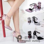 涼鞋/夏季包頭中空裸色蝴蝶結細跟高跟鞋女「歐洲站」