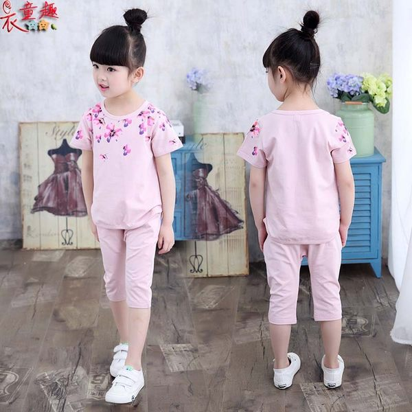 衣童趣♥韓版中大女童 時尚圓領花朵上衣+六分褲 休閒百搭套裝 夏日兩件式套裝