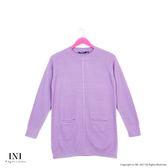 【INI】柔感舒適、小口袋織紋圓領針織毛衣.紫色