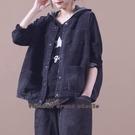 依多多 秋裝新款韓版寬鬆口袋水洗做舊牛仔馬夾士短外套