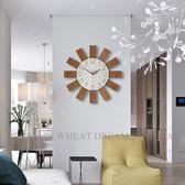 現代表客廳簡約個性靜音創意掛鐘時尚臥室掛表家用木質藝術鐘表