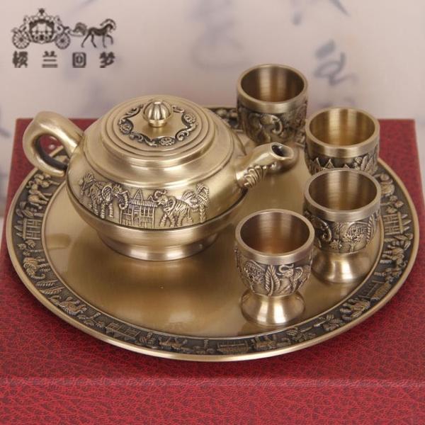 青銅器商務禮品工藝品擺件銅制套裝錫罐青銅茶具茶壺四只茶杯托盤1入