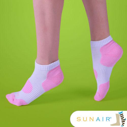 sunair 滅菌除臭襪子-自行車款短襪M(21~24.5) (白+粉紅) /SA0202