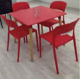 【南洋風休閒傢俱】華克/亞力餐椅+80cm圓桌 造型椅 時尚椅 塑料餐椅 洽談椅(538-2)