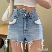 短褲 毛邊淺色牛仔單寧短褲女夏季百搭寬鬆休閒褲子高腰顯瘦闊