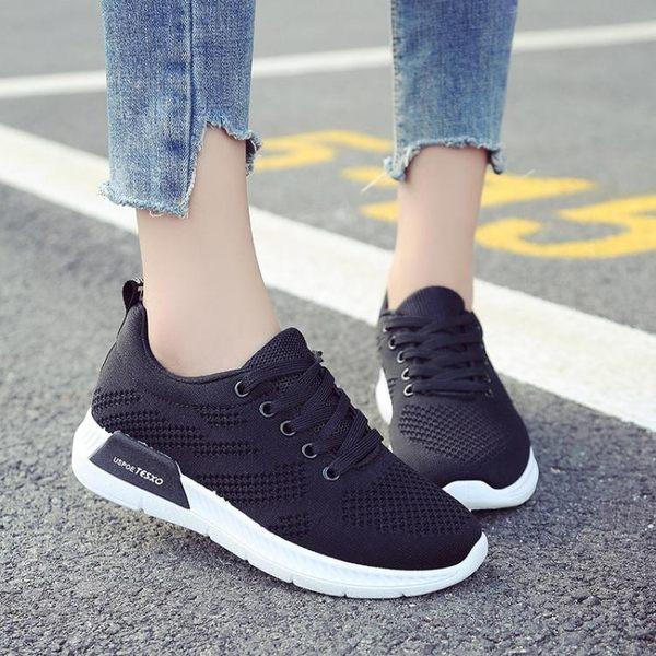 現貨女鞋跑步鞋 夏季新款輕便運動鞋女透氣減震耐磨休閒鞋慢跑鞋 雲雨尚品8-2