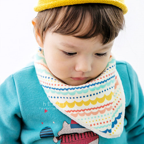 韓國彩虹條紋加絨保暖三角領巾 冬款棉感圍兜 口水巾