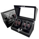機械錶自動上鍊收藏盒 2旋4入錶座轉動 LED燈 高質感碳纖維 - 黑色 #BW4+0-L-5P