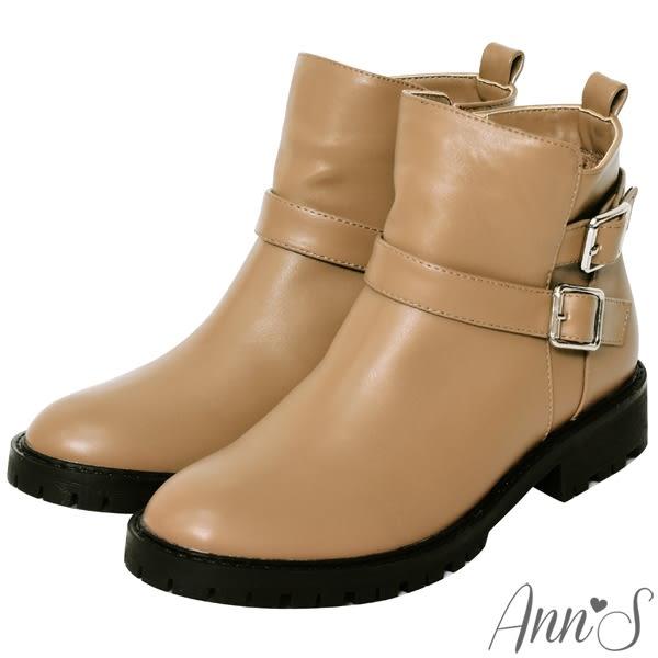 Ann'S中性印象-銀扣雙帶超短筒機車靴-卡其