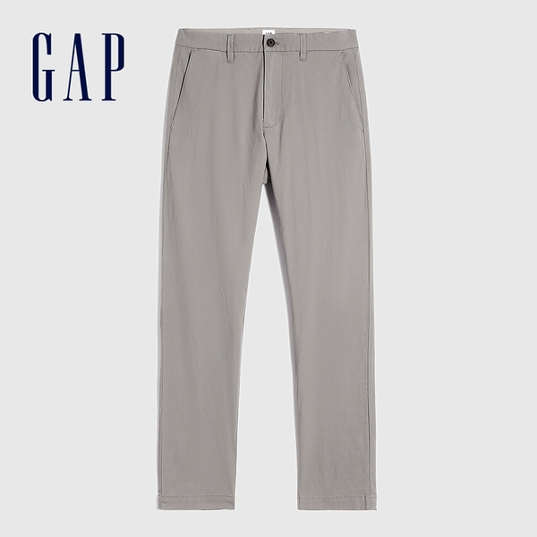 Gap男裝 商務風中腰直筒型休閒褲 810720-煙灰色