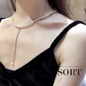 項鍊 韓系簡約優雅短款珍珠鎖骨鏈水鑽長吊墜【1DDN0298】