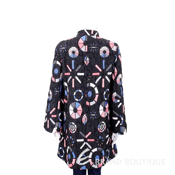 EMPORIO ARMANI 絎縫多彩圖案黑色立領長版外套 1840623-01