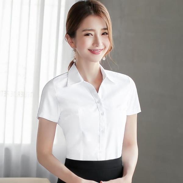 白色襯衫女短袖寬松春夏工作服正裝工裝長袖黑藍職業裝女裝白襯衣