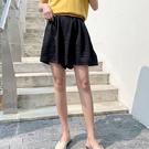 M短寬褲 好版型半腰鬆緊素色二色-月兒的綺麗莊園