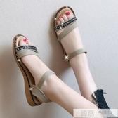 涼鞋女仙女風2020年新款涼一字帶平底低跟夏季學生女百搭軟妹涼鞋  中秋佳節
