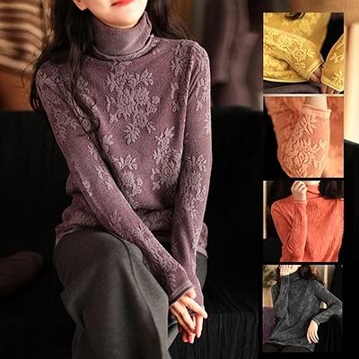 莫代爾提花長袖針織衫 高領蕾絲保暖毛衣/5色-夢想家-1123