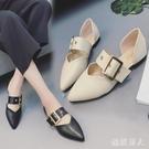 春季單鞋女2020新款韓版學生百搭一字扣平底鞋子粗跟淺口尖頭女鞋 LF4551【極致男人】