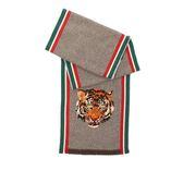【GUCCI】老虎頭立體刺繡羊毛/CASHMERE圍巾 473529 4G890 9765