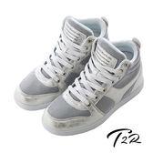 【韓國T2R】韓流金屬布面裂紋氣墊內增高鞋8CM 銀(5600-0194)