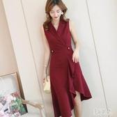 OL洋裝 2020春夏新款韓版女裝潮流修身顯瘦百搭時尚無袖連身裙 EY11241『美好时光』