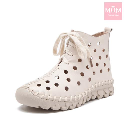 全真皮手工縫線軟底水玉洞洞綁帶休閒短靴 白 *MOM*