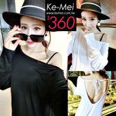 克妹Ke-Mei【ZT53410】版型也太瘦!性感綁帶大露背罩杉式T恤上衣