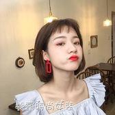 紅色亞克力耳釘韓國氣質個性夸張時尚顯臉瘦超仙幾何大耳環女潮人〖滿千折百〗