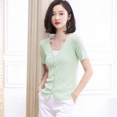 針織外套-純色V領簡約舒適短袖女針織衫4色73xi34【巴黎精品】