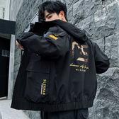 Free Shop 迷彩拼接工裝連帽風衣外套 MA-1口袋棒球外套 大口袋背刺繡夾克外套 小中大尺碼【QTJ939】